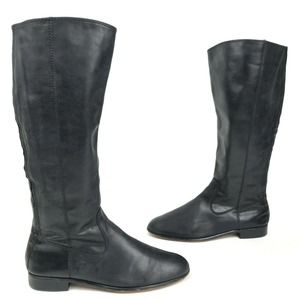 Kenneth Cole Tall Black Leather Flat Knee Boot 9.5